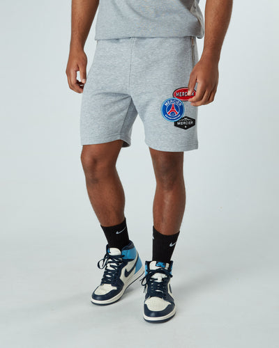 Grey Marl Paris Badge Shorts