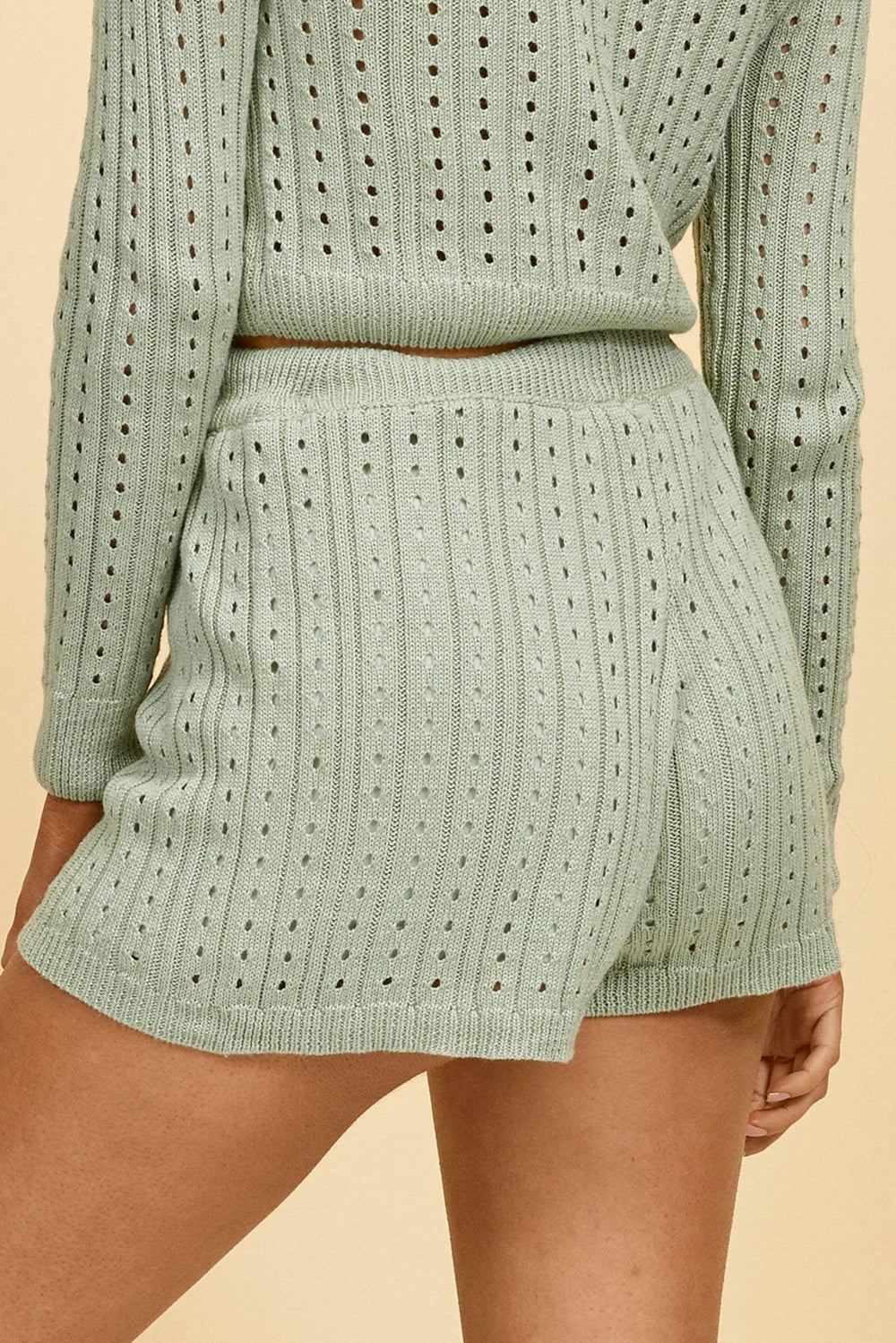 green knit shorts, knit set, knit two piece set