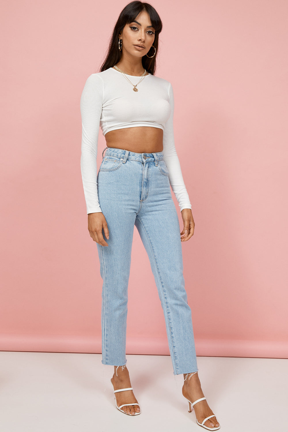 long sleeve crop top, white crop top, backless crop top