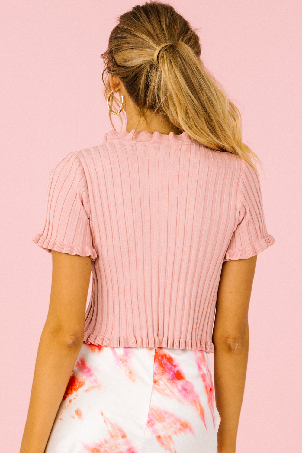 pink button up crop top, knit crop top, button up crop top