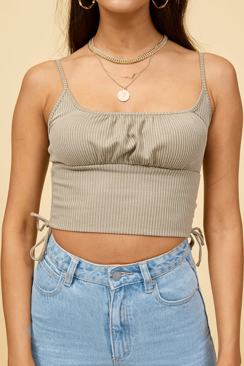 khaki crop top, khaki tank top, crop top