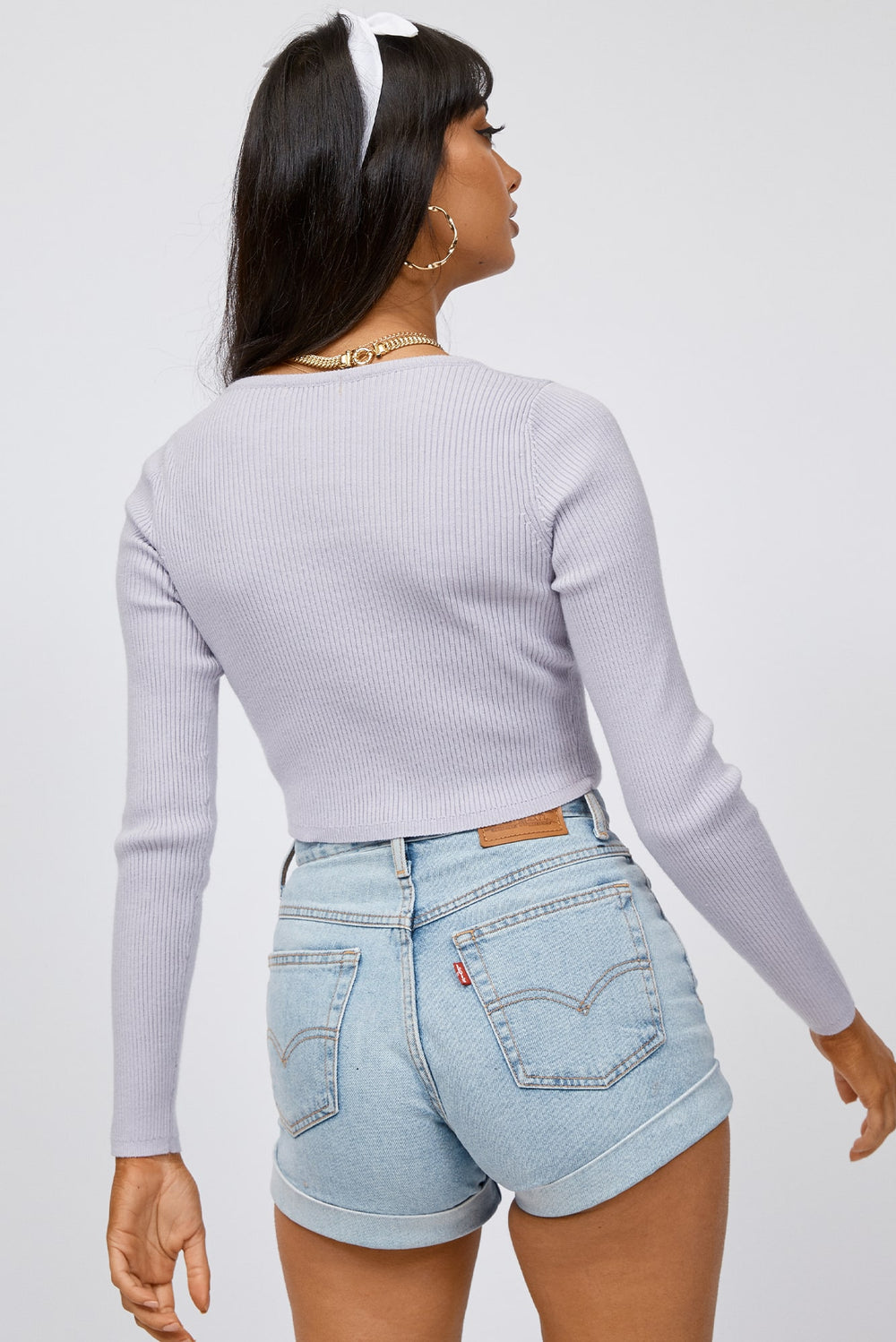button up crop top, long sleeve crop top, knit crop top