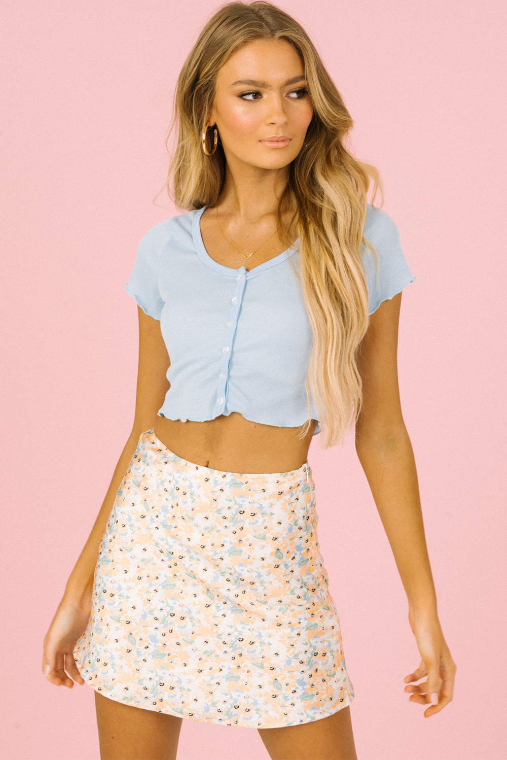 button up crop top, blue crop top, blue button up crop top