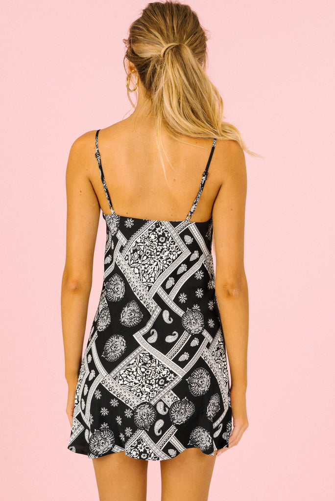 black mini dress, white mini dress, bandana dress