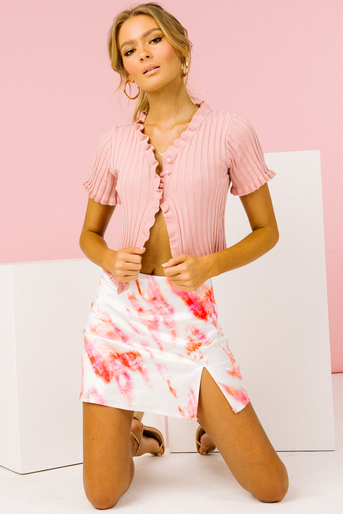 white mini skirt, pink mini skirt, tie dye mini skirt