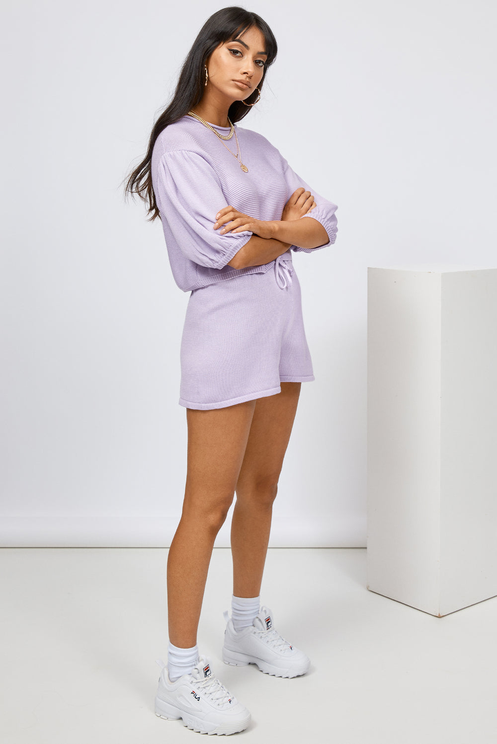 knit set, knit shorts, purple shorts