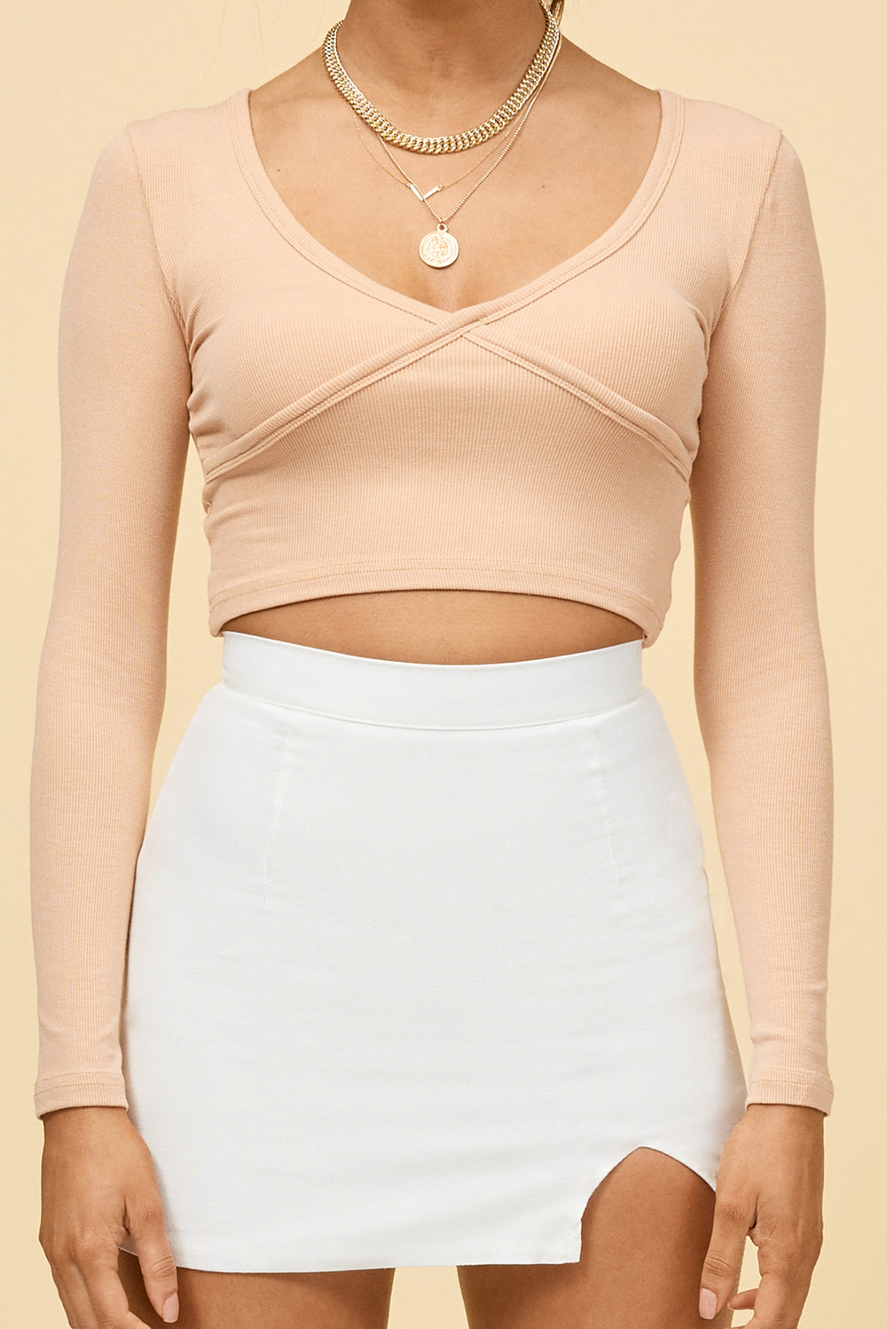 beige long sleeve crop top, crop top, beige crop top