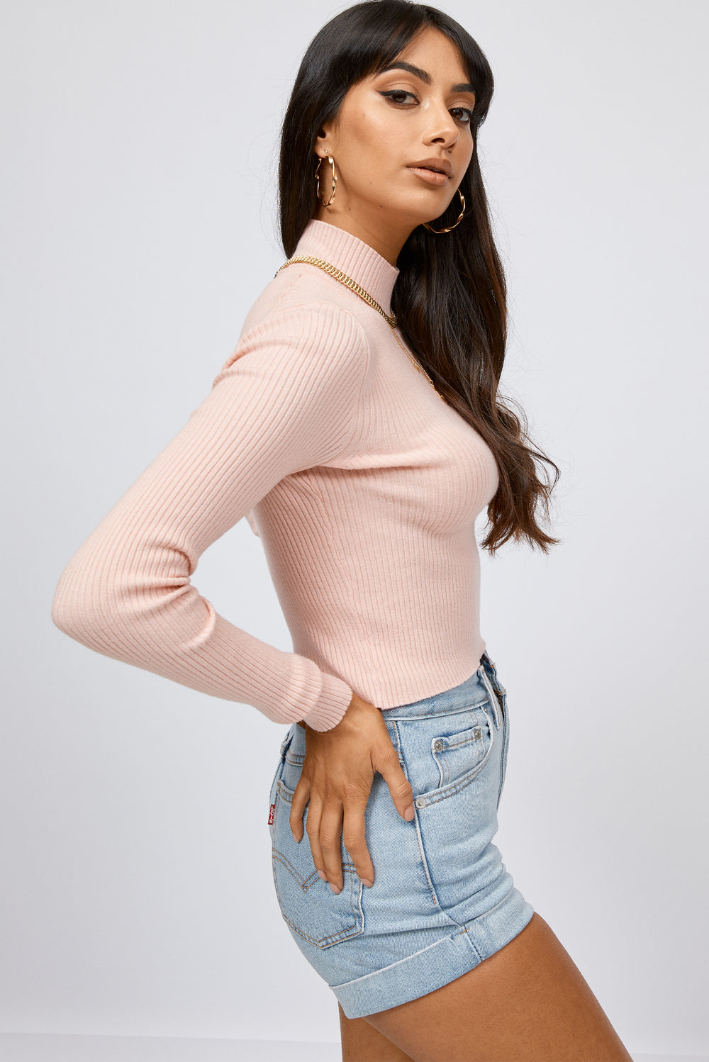 pink turtleneck sweater, turtleneck sweater, pink sweater