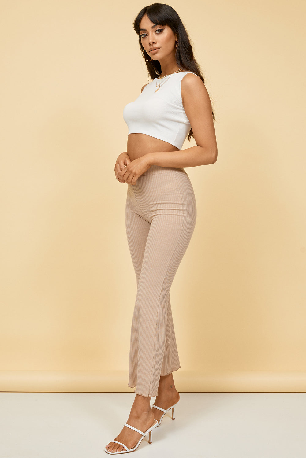 taupe high waisted pants, high waisted flare pants, flare pants