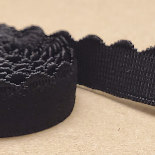 Black Picot (scalloped) strap elastic for Bras 3/8