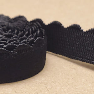 "Black Picot (scalloped) strap elastic for Bras 3/8"" (10mm) - 100m"
