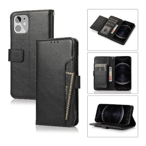 Black iPhone 12 Mini (2020) Wallet Case - Leather Wallet Series Case