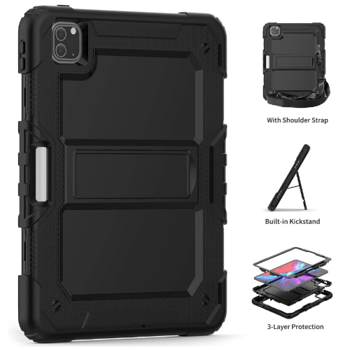 "SaharaCase - Heavy Duty Series Case with Built-in Screen Protector - iPad Pro 12.9"" (2020) - Scorpion Black - Sahara Case LLC"