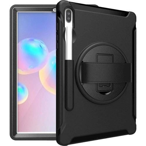 "Samsung Tab S6 10.5"" T860 Case with Built-In Screen Protector and Hand Strap in Scorpion Black - Heavy Duty Series - Sahara Case LLC"