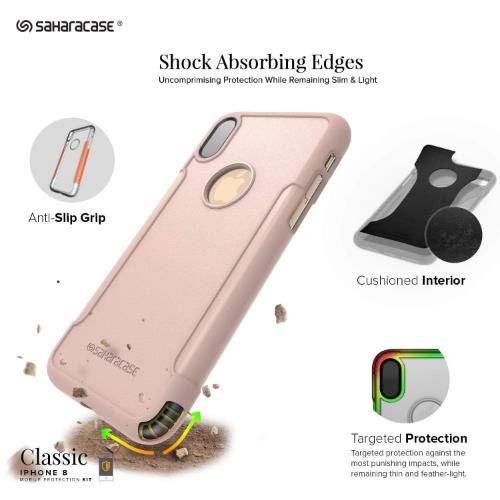 Classic Case & Glass Screen Protection Kit - iPhone X/XS Rose Gold - Sahara Case LLC