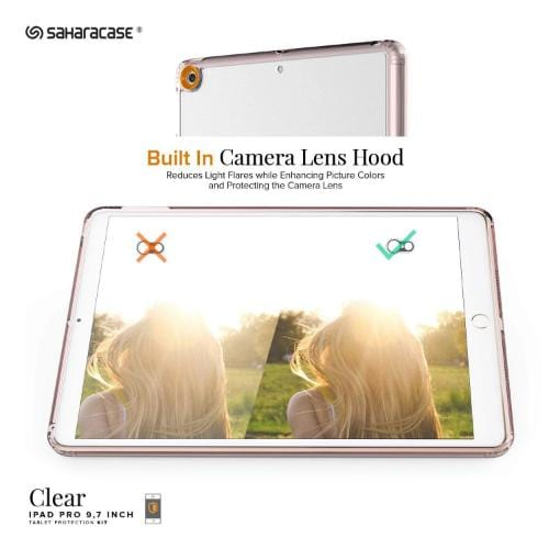"Crystal Case & Glass Screen Protection Kit - iPad 9.7"" (2017/2018) Clear Rose Gold - Sahara Case LLC"
