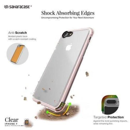Crystal Case & Glass Screen Protection Kit - iPhone 8/7 Plus Clear Rose Gold - Sahara Case LLC