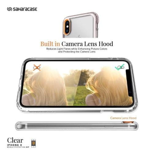 Crystal Case & Glass Screen Protection Kit - iPhone X/XS Clear Rose Gold - Sahara Case LLC