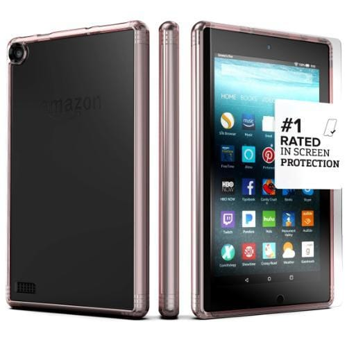 "Kindle Fire HD 8"" Case in Clear Rose Gold - Crystal Series - Sahara Case LLC"