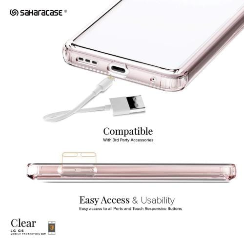 Crystal Case & Glass Screen Protection Kit - LG G6 Clear Rose Gold - Sahara Case LLC