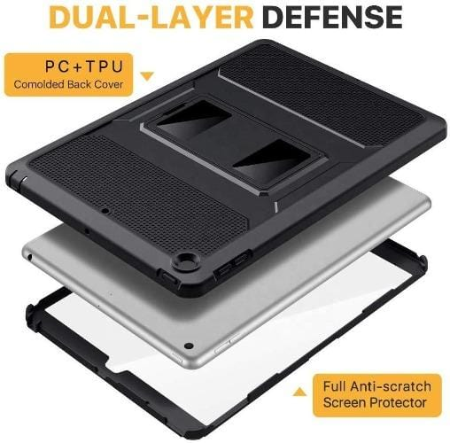 SaharaCase - Heavy Duty Series Case with built-in Screen Protector - iPad 10.2 Case - Scorpion Black - Sahara Case LLC