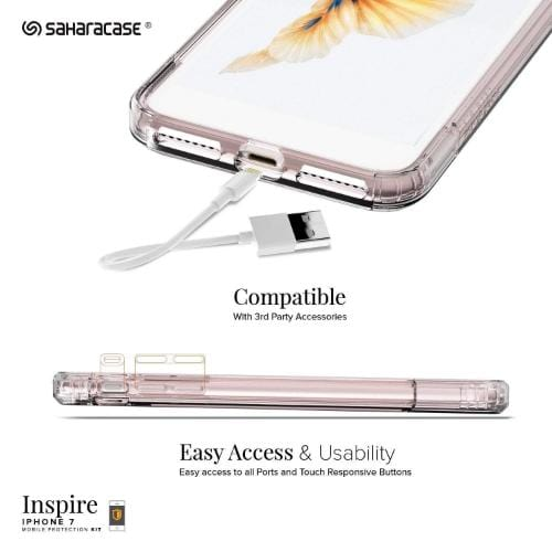 Inspire Case & Glass Screen Protection Kit - iPhone 8/7 Clear Rose Gold - Sahara Case LLC