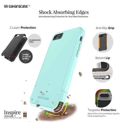 Inspire Case & Glass Screen Protection Kit - iPhone 8/7 Oasis Teal - Sahara Case LLC