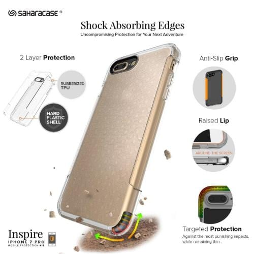 Inspire Case & Glass Screen Protection Kit - iPhone 8/7 Plus Clear - Sahara Case LLC