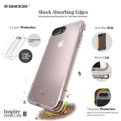 SaharaCase - Inspire Series Case - iPhone 8/7 Plus - Clear Rose Gold - Sahara Case LLC
