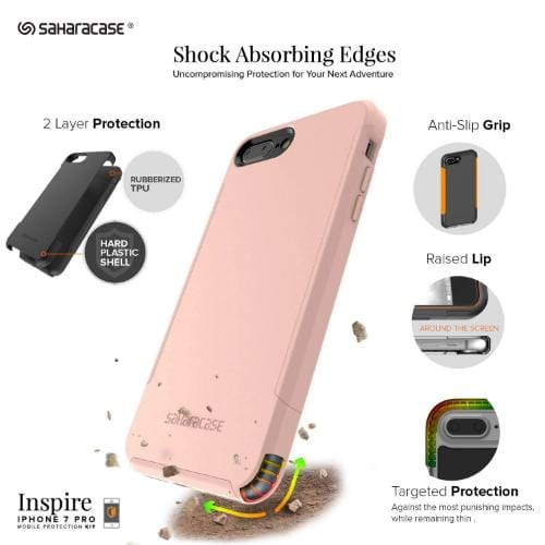 Inspire Case & Glass Screen Protection Kit - iPhone 8/7 Plus Desert Rose Gold - Sahara Case LLC