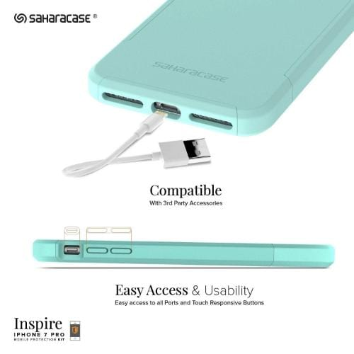 Inspire Case & Glass Screen Protection Kit - iPhone 8/7 Plus Oasis Teal - Sahara Case LLC