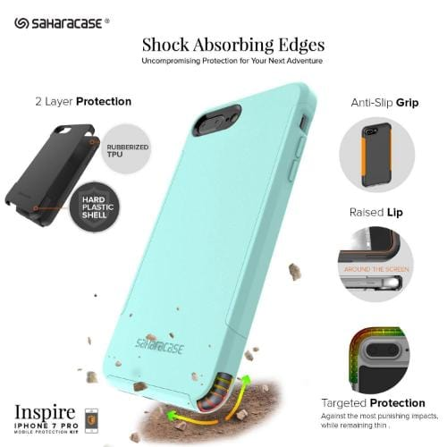 SaharaCase - Inspire Series Case - iPhone 8/7 Plus - Aqua Teal - Sahara Case LLC