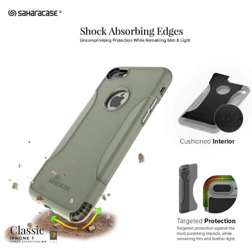 SaharaCase Classic Case & Glass Screen Protection Kit - iPhone 8/7 Army  Green - Sahara Case LLC