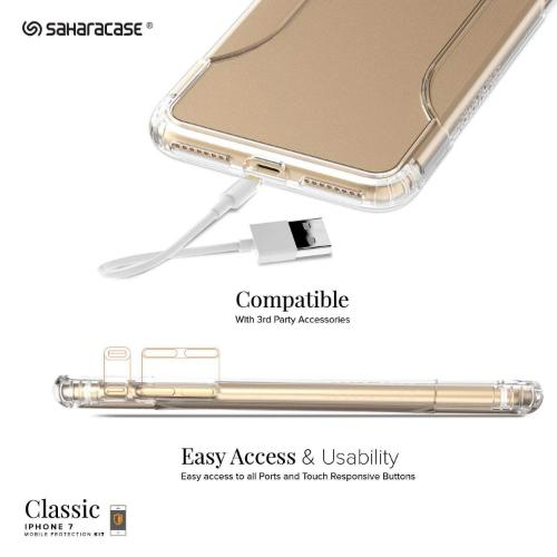 SaharaCase Classic Case & Glass Screen Protection Kit - iPhone 8/7 Clear - Sahara Case LLC