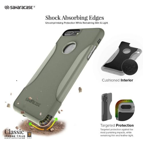 SaharaCase Classic Case & Glass Screen Protection Kit - iPhone 8/7 Plus Army Green - Sahara Case LLC