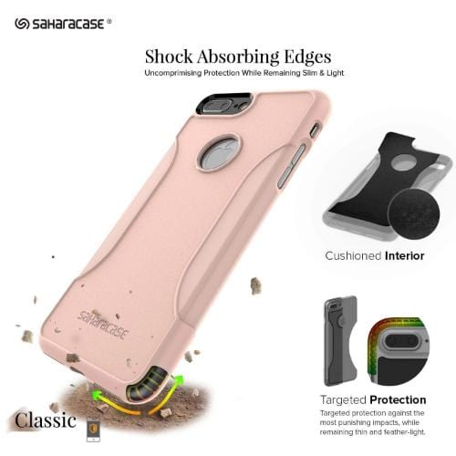 SaharaCase Classic Case & Glass Screen Protection Kit - iPhone 8/7 Plus Rose Gold - Sahara Case LLC
