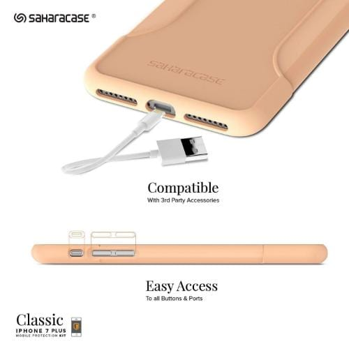 SaharaCase Classic Case & Glass Screen Protection Kit - iPhone 8/7 Plus Sunset Peach - Sahara Case LLC