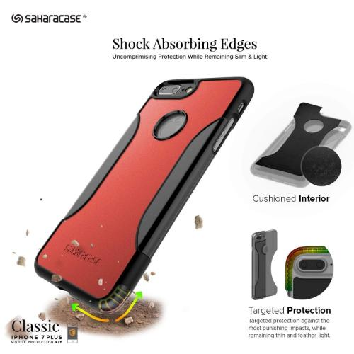 SaharaCase Classic Case & Glass Screen Protection Kit - iPhone 8/7 Plus Viper Red - Sahara Case LLC