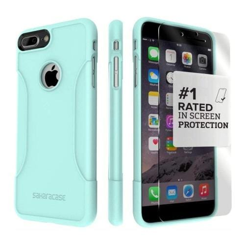 Aqua Teal iPhone 8 Plus and iPhone 7 Plus Case with Tempered Glass Screen Protector - Classic Series Case