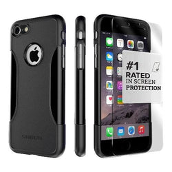 iPhone 8/7 & iPhone SE (2nd Gen) Case in Scorpion Black with Glass Screen Protector - Classic Series Case