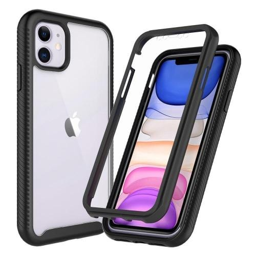 "SaharaCase - Full Protection Series Case with Built-in Screen Protector - iPhone 11 6.1""- Scorpion Black Clear - Sahara Case LLC"