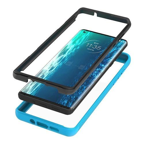 SaharaCase - Grip Series Case for Motorola Moto Edge 5G - Aqua/Clear - Sahara Case LLC