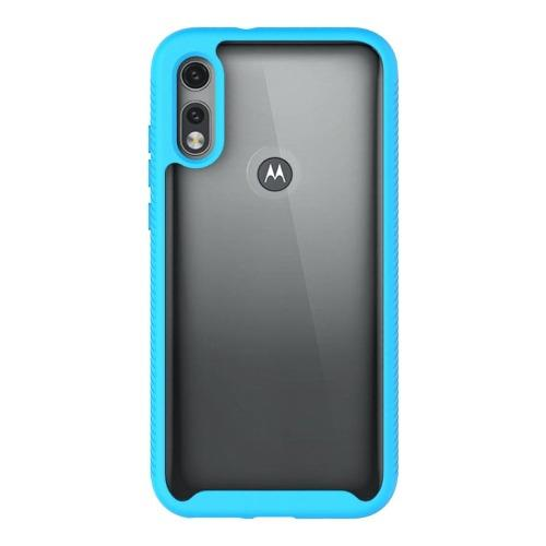 SaharaCase - Grip Series Case with built-in screen protector - for Motorola E 2020 - Clear Aqua - Sahara Case LLC