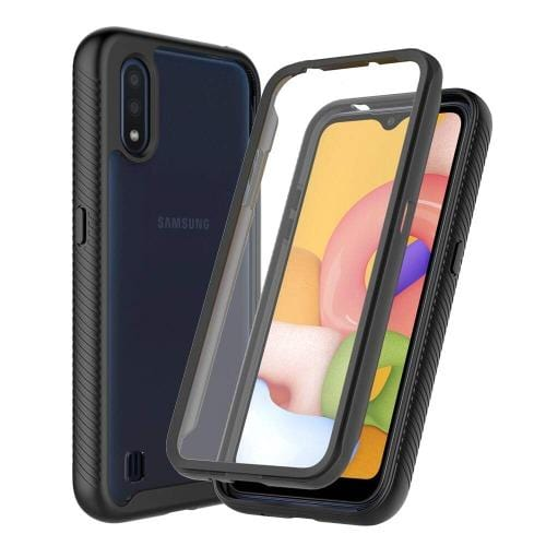 SaharaCase - Heavy Duty Full Protection with Built-in Screen Protector - Samsung Galaxy A01 - Black - Sahara Case LLC