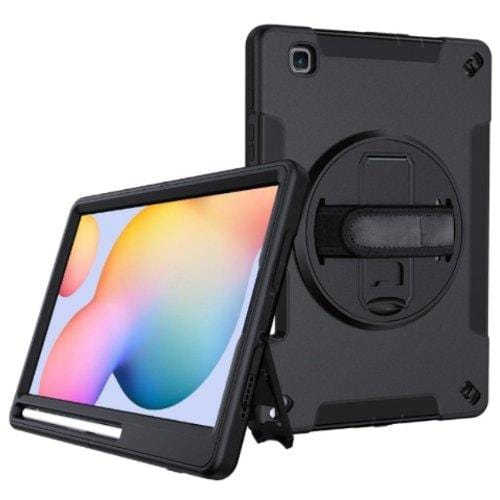 SaharaCase - Heavy Duty Series Case with Built-in Screen Protector and Hand Strap - Samsung Galaxy Tab S6 Lite - Scorpion Black - Sahara Case LLC