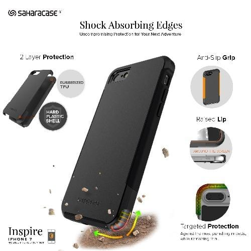 SaharaCase - Inspire Case and Glass Screen Protection Kit - iPhone SE 2020 (Gen 2) - Scorpion Black - Sahara Case LLC