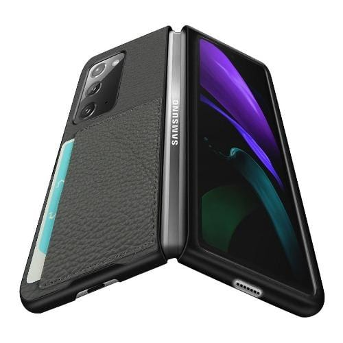 SaharaCase - Leather Series Case for Samsung Galaxy Z Fold2 5G - Gray - Sahara Case LLC