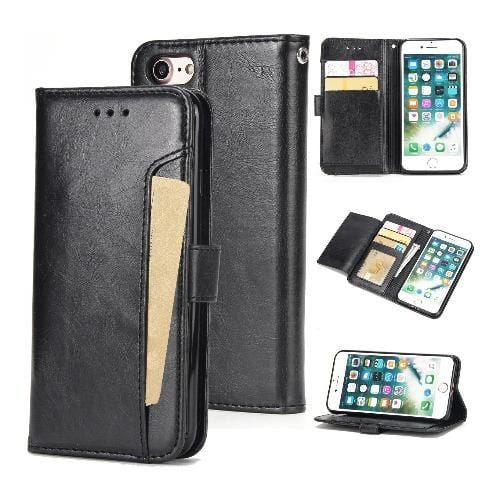 SaharaCase - Leather Series Wallet Case - iPhone SE(Gen 2) 2020 - Scorpion Black - Sahara Case LLC