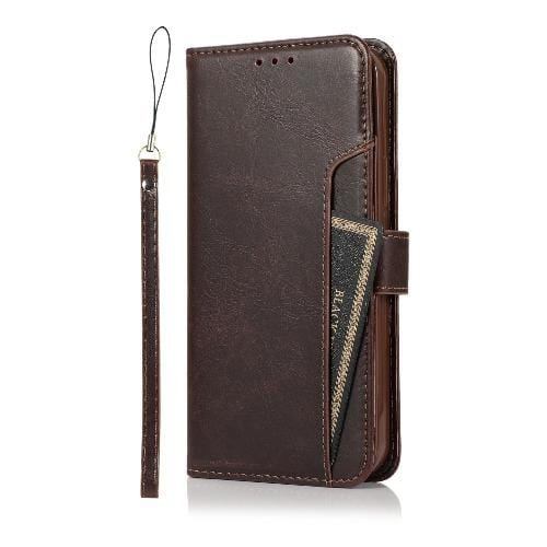 "SaharaCase - Leather Wallet Series Case - for iPhone 12 Mini 5.4"" - Brown - Sahara Case LLC"
