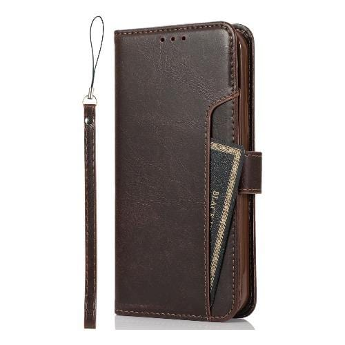 "SaharaCase - Leather Wallet Series Case - iPhone 12 Pro Max 6.7"" - Brown - Sahara Case LLC"